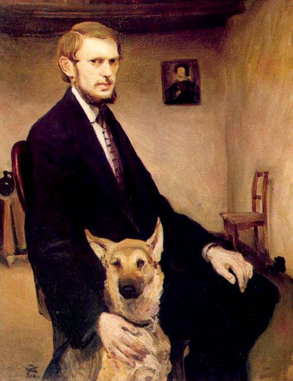 Miroslav Kraljevic, Selbstporträt mit Hund, 1910