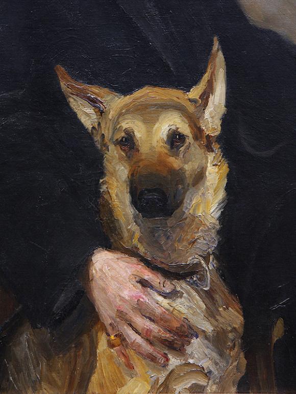 Miroslav Kraljevic, Selbstporträt mit Hund, Detail, 1910