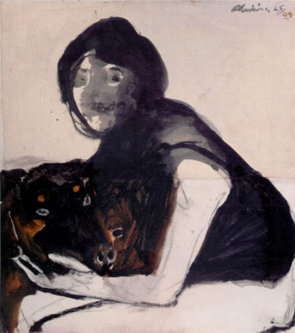 Nathan Oliveira, Woman with Rottweilers, 1964