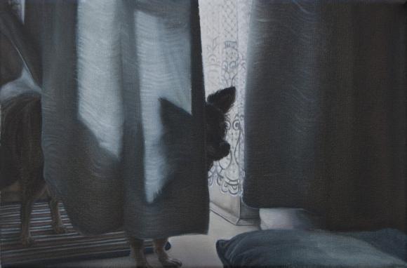 aus der Serie Nachts kommen die Füchse, Öl auf Leinwand, 30 x 20 cm, 2018 © C