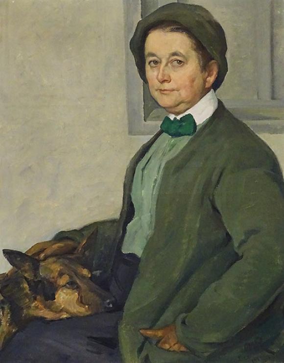 Ottilie W. Roederstein, Elisabeth H. Winterhalter mit Schäferhund, 1912