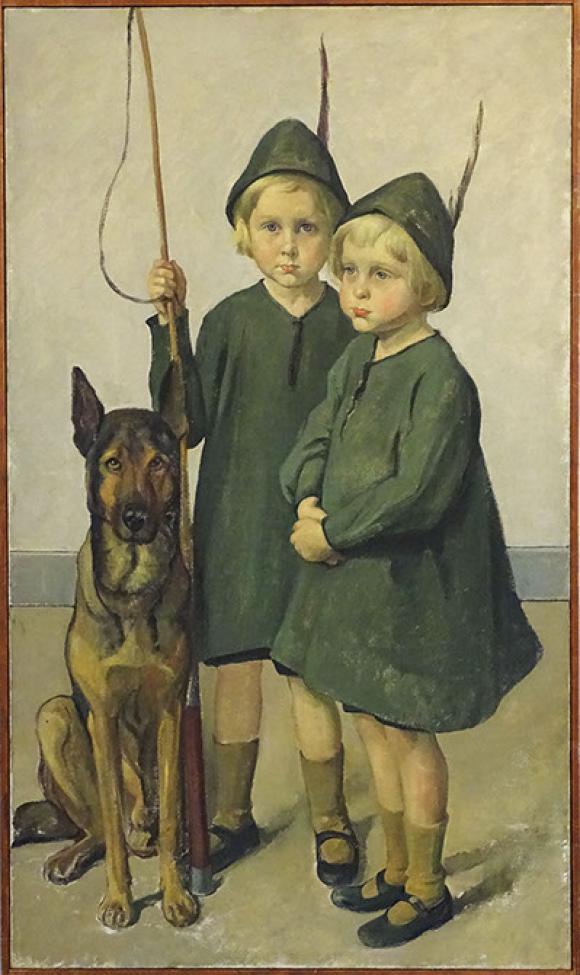 Ottilie W. Roederstein, Zwillinge mit Wolf und Peitsche, 1916