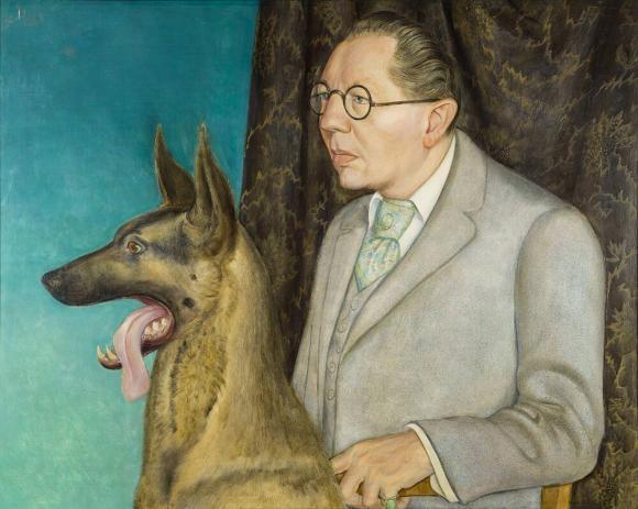 Otto Dix, Bildnis des Fotografen Hugo Erfurth mit Hund (Detail), 1926