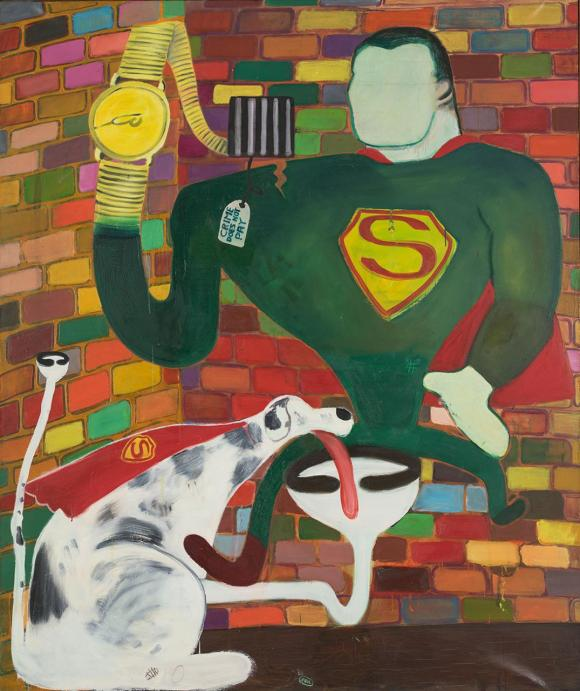 Peter Saul, Superman and Superdog in Jail, 1963