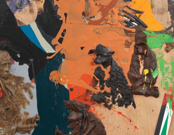 Peter Stauss, Partie (Detail), 2009, Öl und Wachsrelief auf Sperrholz