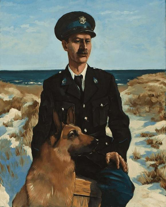 Politieman op duin met hond, 1990 © Siert Dallinga