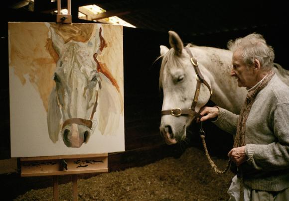 Lucian Freud malt Grey Gelding (Grauer Wallach). Foto: David Dawson, 2003