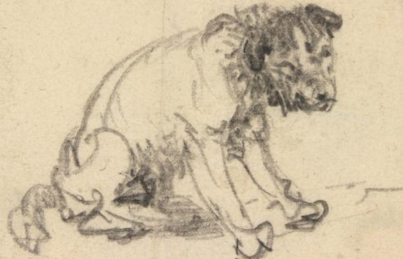 Rembrandt  Harmenszoon van Rijn (1606-1669), Studie eines sitzenden Hundes, um 1