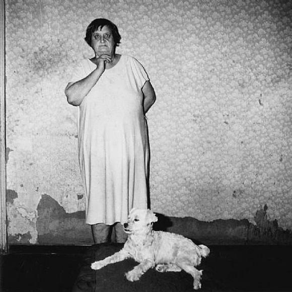 Roger Ballen, Platteland, Mrs. J.J. Joubert and Dog Dinky in Bedroom, Central Ca