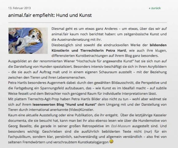 Screenshot animal.fair-Blog
