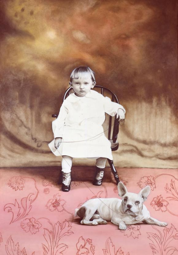 Marianna Gartner, Seated child with dog, 2004