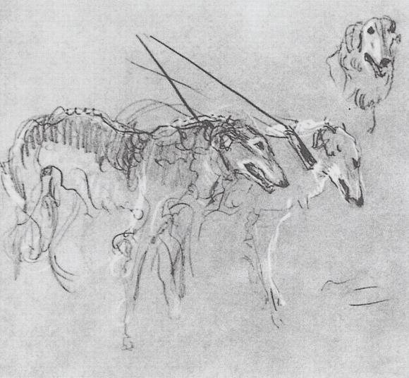 Valentin Serov, Windhunde, 1902