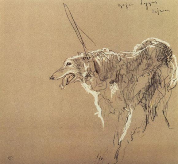 Valentin Serov, Windhunde, 1901