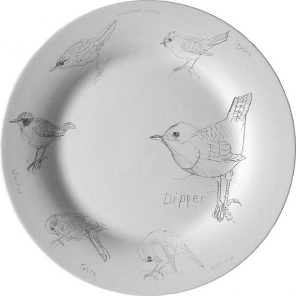 Teller mit Vogelmotiven von Edwyn Collins