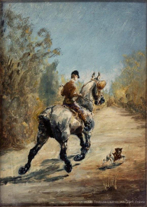 Henri Toulouse-Lautrec, Reiter im Trab mit kleinem Hund, 1879, Musée Toulouse-La