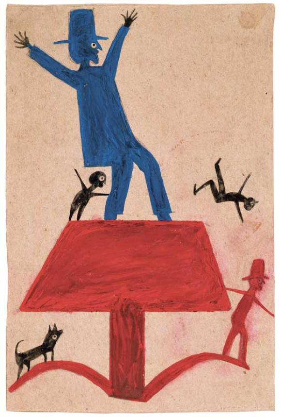 Bill Traylor, Untitled (Figure Construction with Waving Man)