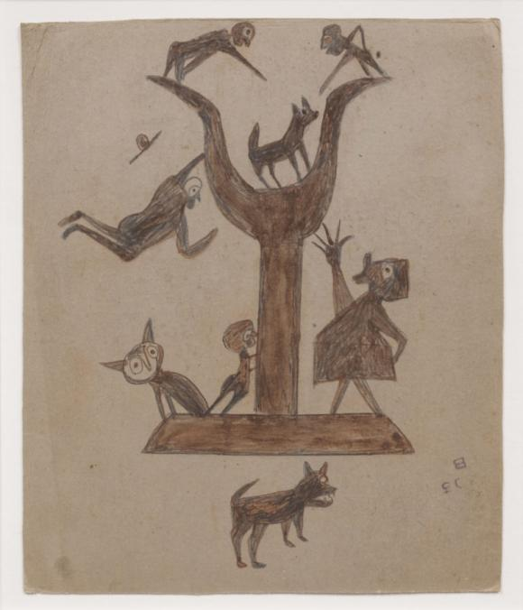 Bill Traylor, Untitled (Construction with Yawping Woman)