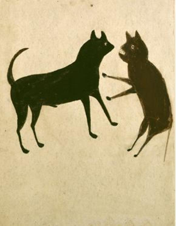 Bill Traylor, Untitled (Dog and Cat Fight)