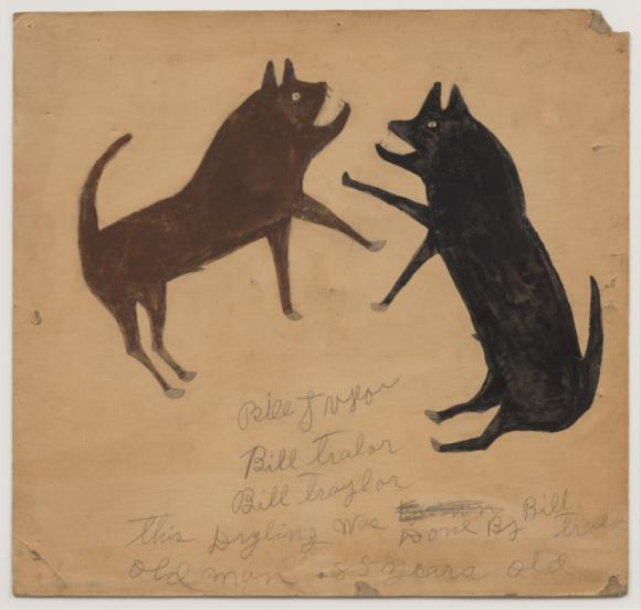 Bill Traylor, Untitled (Dog Fight with Writing)