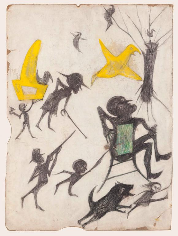 Bill Traylor, Untitled (Exciting Event- Man on Chair, Man with Rifle, Dog Chasin