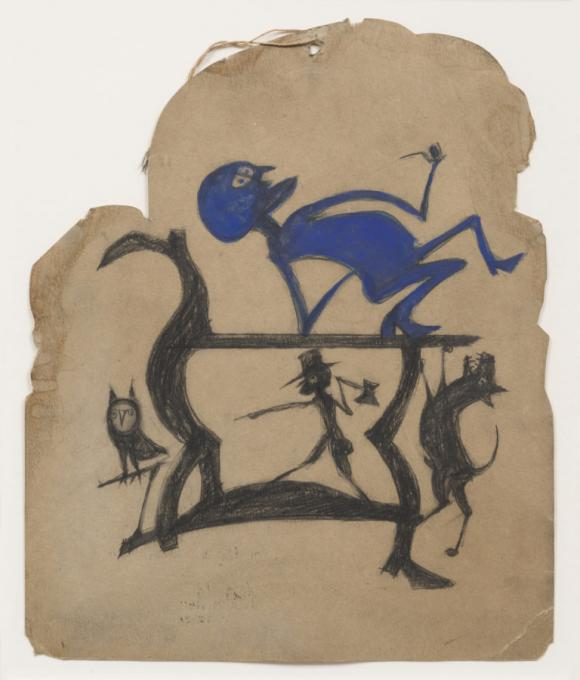 Bill Traylor, Untitled (Legs Construction with Blue Man)