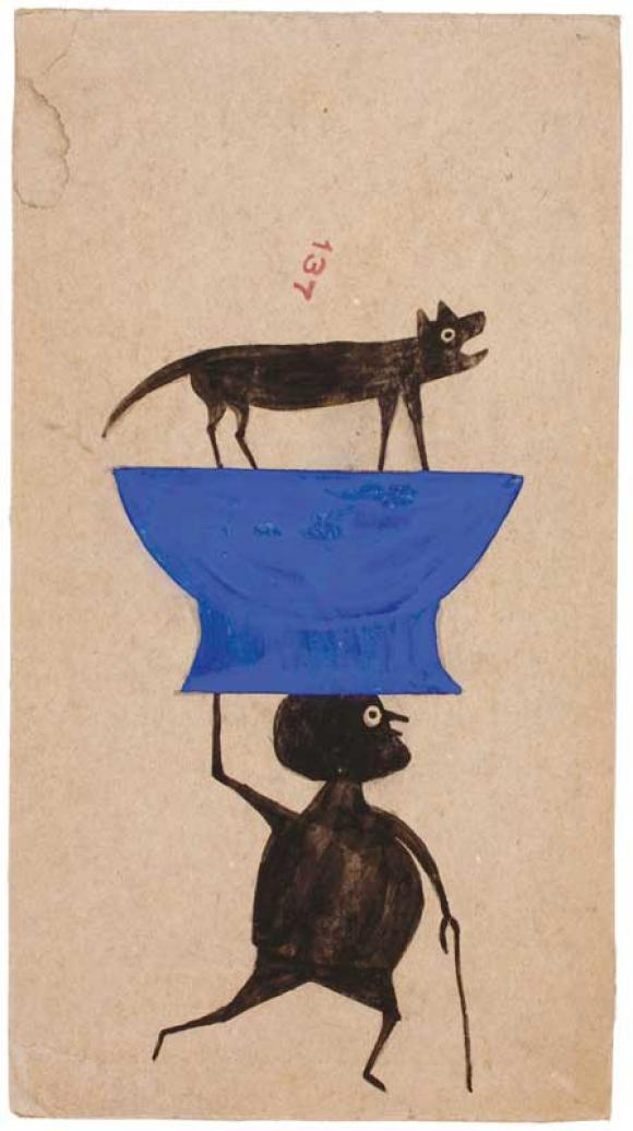Bill Traylor, Untitled (Man Carrying Dog on Object)