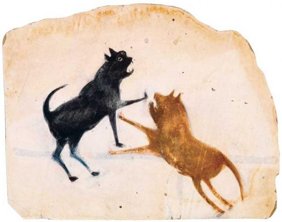 Bill Traylor, Untitled (Two Dogs Fighting)