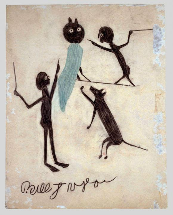 Bill Traylor, Untitled (Two Men, Dog, and Owl)