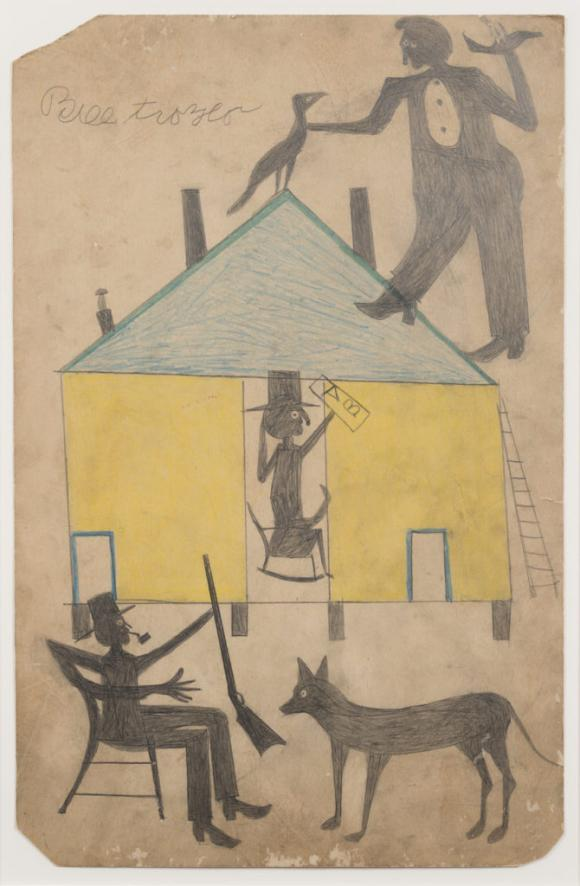 Bill Traylor, Untitled (Yellow and Blue House with Figures and Dog)