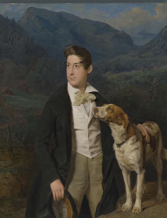 Ferdinand Georg Waldmüller, Waldmüllers Sohn Ferdinand mit Hund, Wien, 1836 © Ba