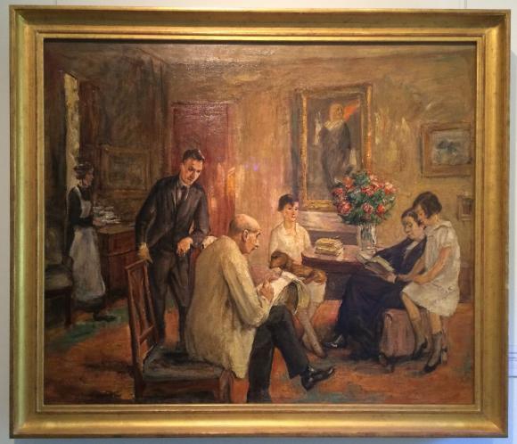 Max Liebermann, Der Künstler skizzierend im Kreise seiner Familie (1926), Foto: