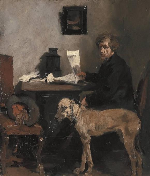 Wilhelm Leibl, Porträt des Malers Johann Ernst Sattler mit Dogge, 1870/71