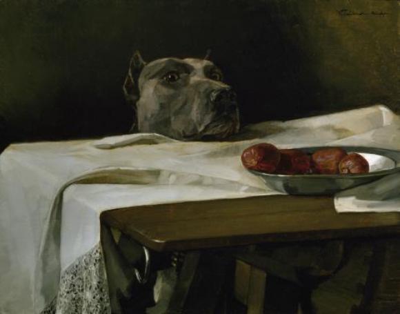 Wilhelm Trübner, Caesar am Rubicon (der Hund des Künstlers), um 1878