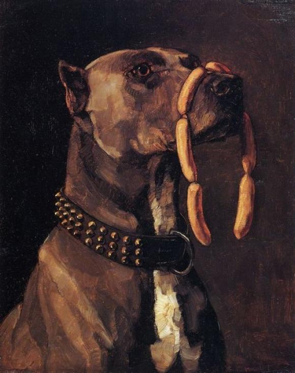 Wilhelm Trübner, Dogge mit Würsten. Ave Caesar morituri te salutant, 1878
