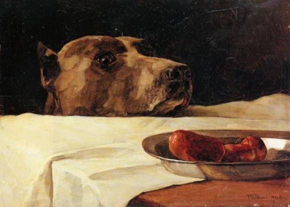 Wilhelm Trübner, Dogge mit Wurstschüssel, 1878