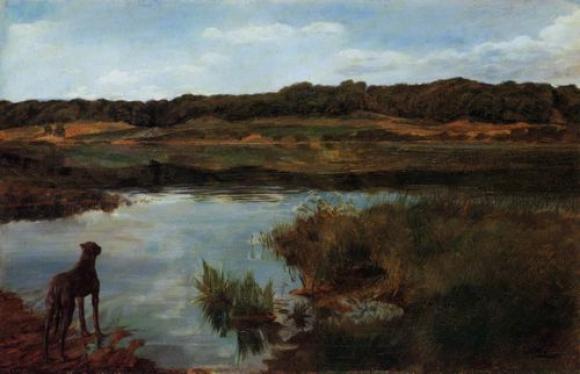 Wilhelm Trübner, Dogge am Wesslinger See, 1876