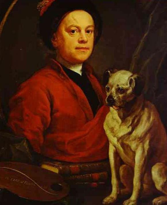Und hier Hogarth mit seinem Mops, 1745