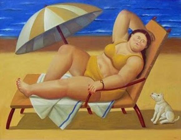 Botero - Mujer con un perro en la playa