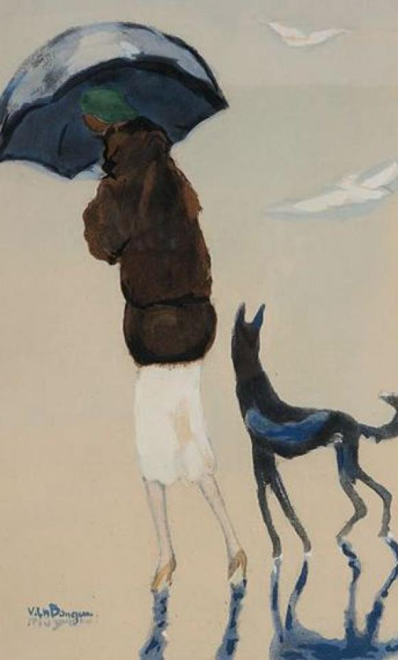 Woman with a dog walking on the beach, 1927 © Kees van Dongen
