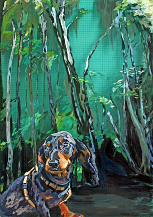 Wastl im Wald (Lack auf Glas) © Hannelore Kroll